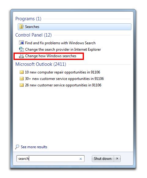 Change Windows Search